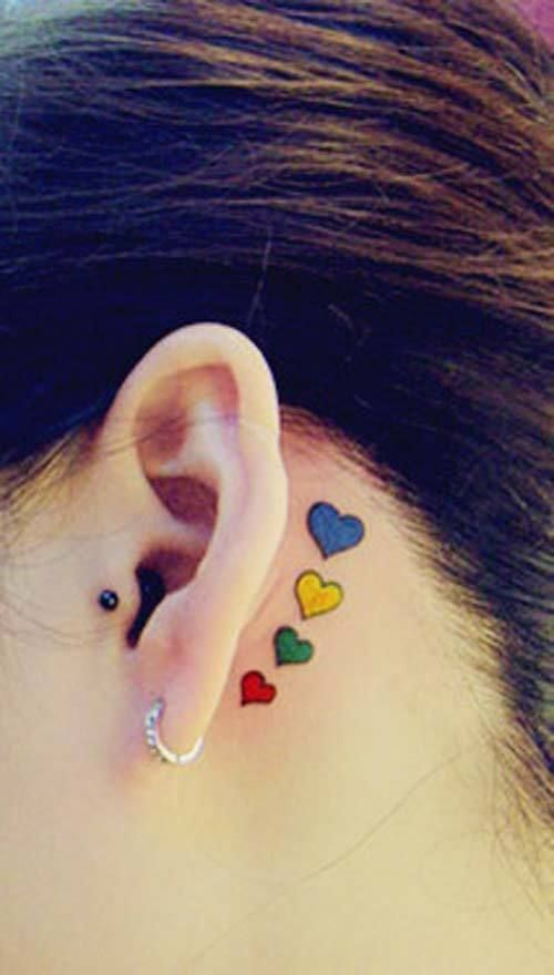 Tattoo Heart Oreille