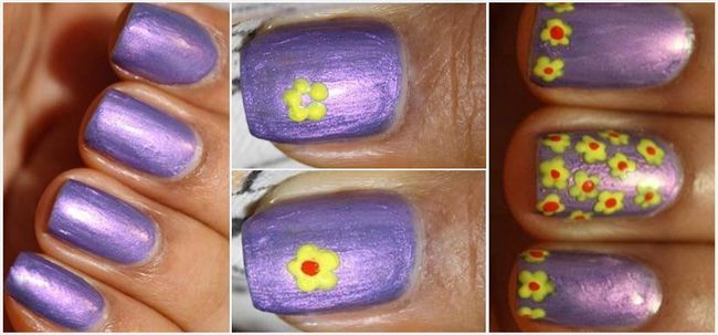 Fleur simple nail art tutoriel Photo