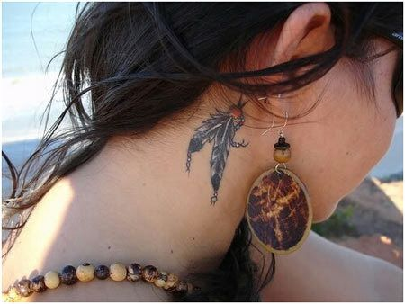 Plumes double Ear Tattoo